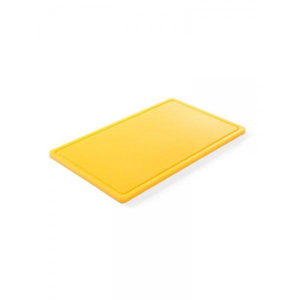 Профессиональная разделочная доска с желобом, желтая, 32,5х26,5х2 см