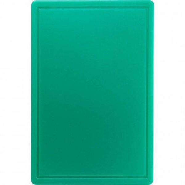 Профессиональная разделочная доска с желобом, зеленая, 32,5х26,5х2 см