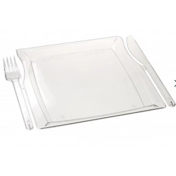 Комбо-тарелка (вилка+нож), 225*195*12мм, прозрачная (3шт/уп)