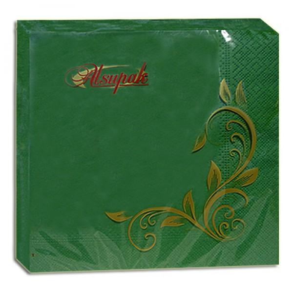 Салфетка 2-х слойная 33х33 см зеленая (100шт/уп)