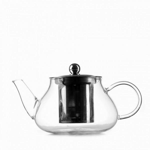 Стеклянный чайник с металлическим заварником Helios, 600 мл