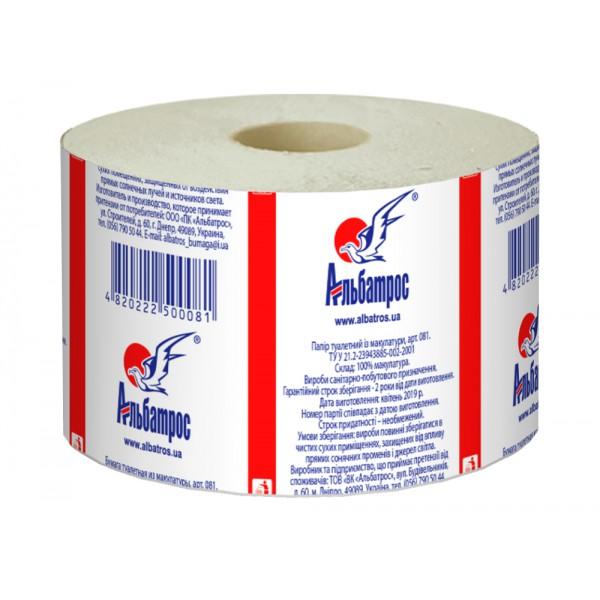 Туалетная бумага макулатурная Альбатрос Джамбо на гильзе