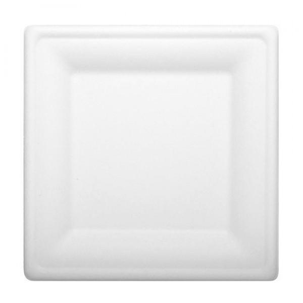 Биоразлагаемая квадратная тарелка Ekola 26 см (125 шт/уп)