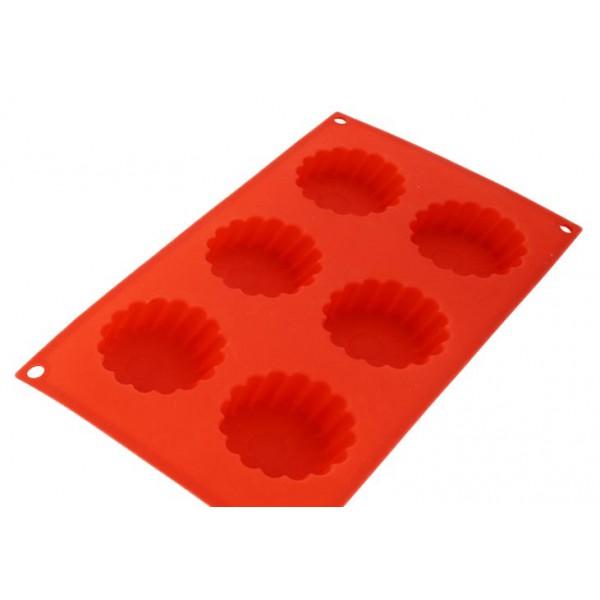 Силиконовая форма для 6 кексов, красная