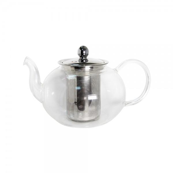 Стеклянный чайник с металлическим заварником, 800 мл