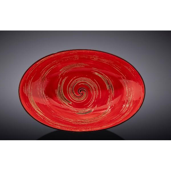 Блюдо овальное глубокое Wilmax SPIRAL RED 25х16,5х6см