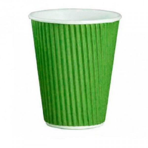 Стакан гофрированный зеленый 350 мл (25шт/уп)
