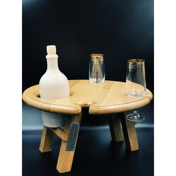 Винный столик светлый - ольха, 40 см