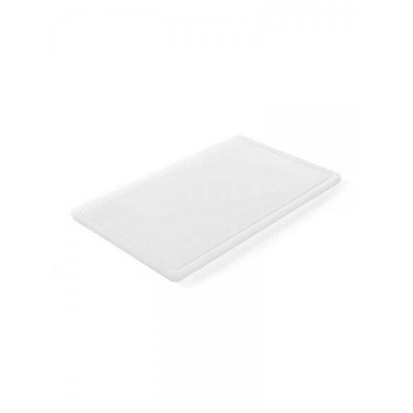 Профессиональная разделочная доска с желобом, белая, 32,5х26,5х2 см