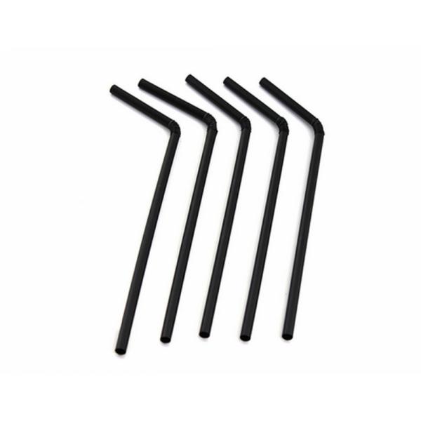 Трубочка с изгибом черная, в индивидуальной упаковке, 21 см (200 шт/уп)