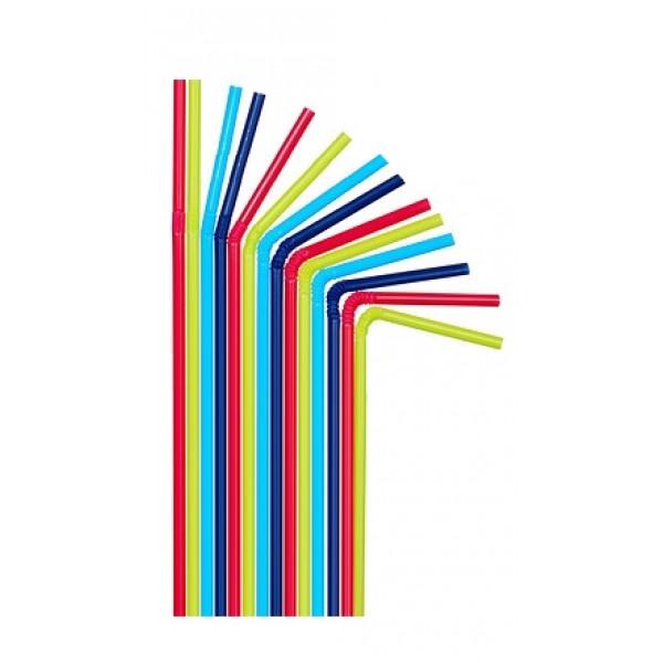 Трубочка цветная с изгибом в индивидуальной упаковке, 21 см (200 шт/уп)