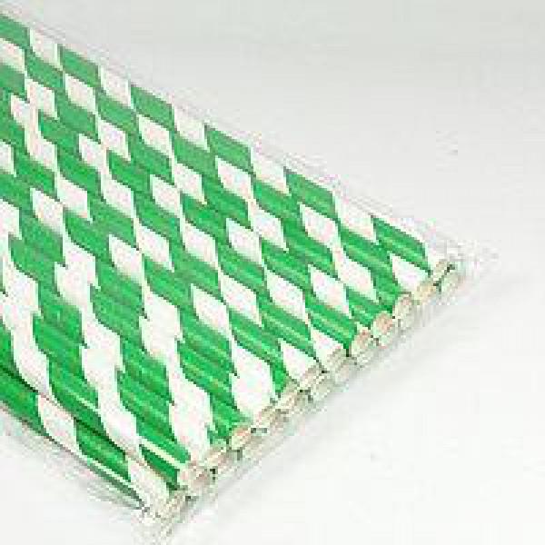 Трубочка бумажная с зеленой смужкой 20 см (50 шт/уп)