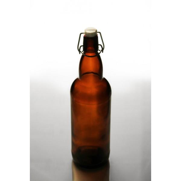 Бутылка коричневая Komfort с бугельной крышкой, 1 литр