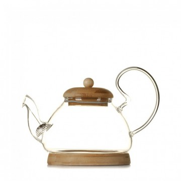 Стеклянный чайник на бамбуковой подставке, 700 мл