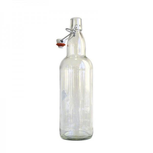 Бутылка прозрачная с бугельной крышкой, 1 литр