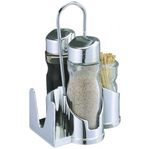 Набор для специй 4 предмета (соль/перец/салфетки/зубочистки)