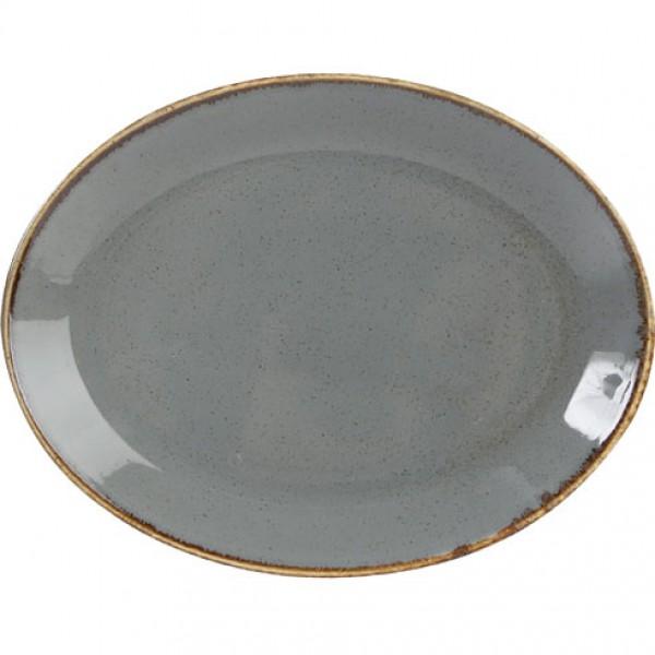 Блюдо овальне темно-серое SEASONS 24 см